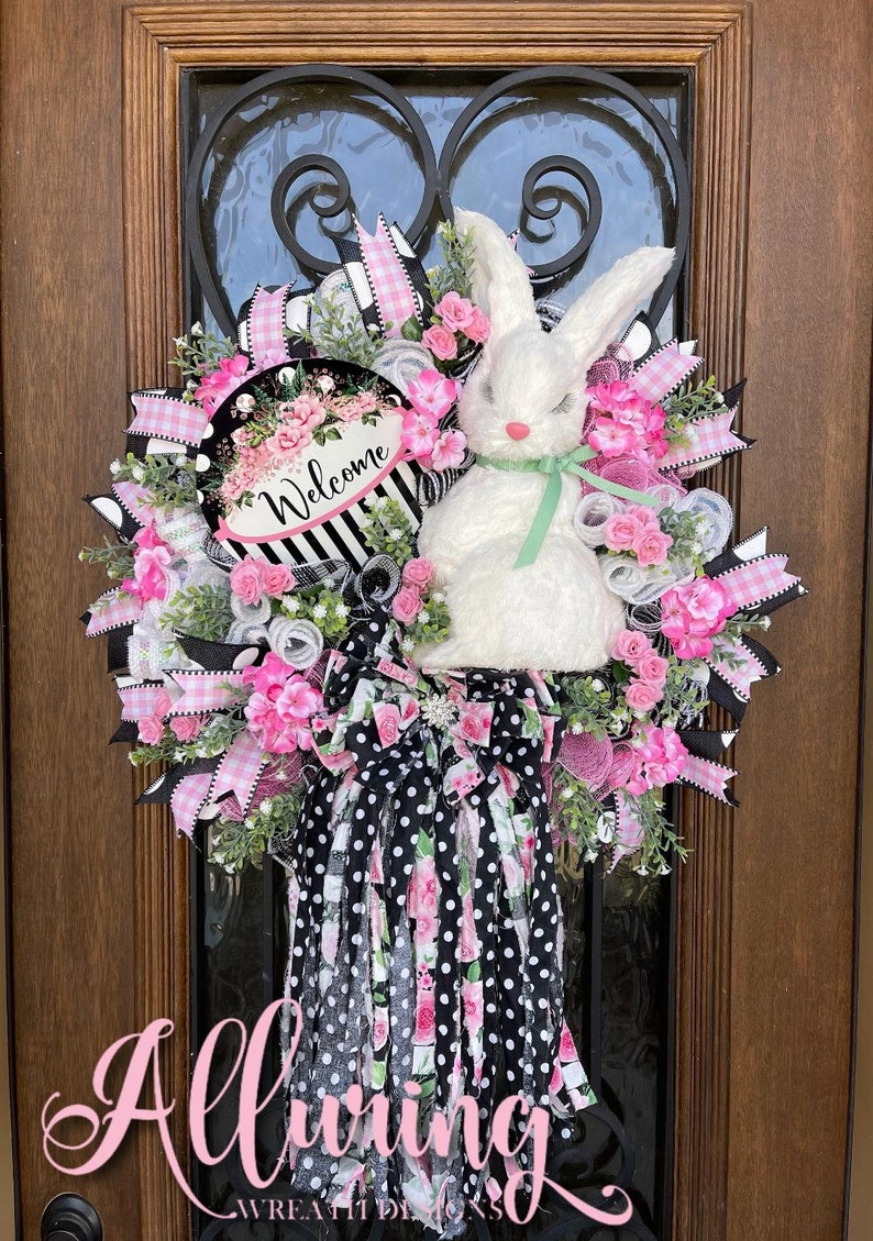 Easter Bunny Wreath with Rag Bow for Front Door image 0