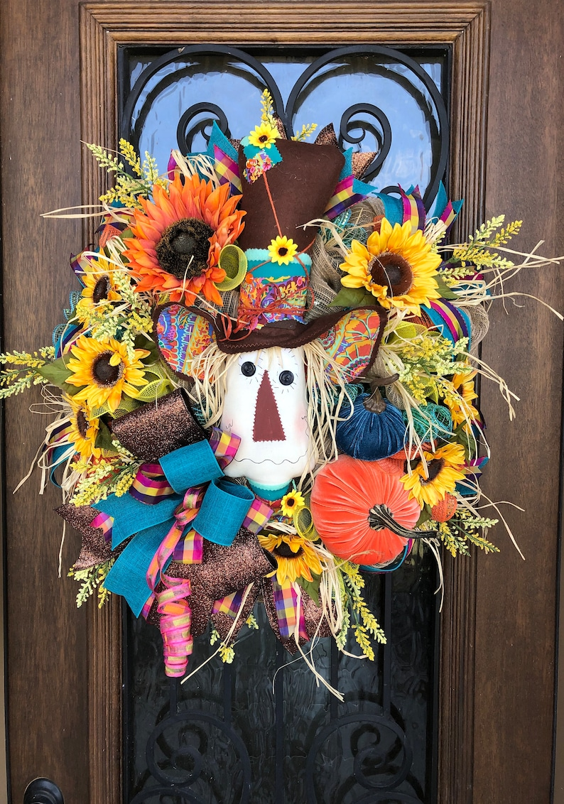 Scarecrow Fall Wreath with Velvet Pumpkins image 0