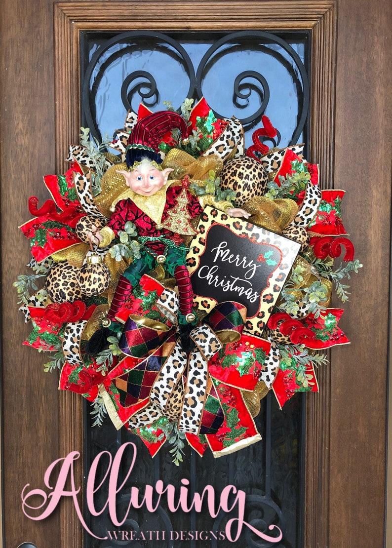 Christmas Elf Wreath in Velvet Cheetah Print image 0