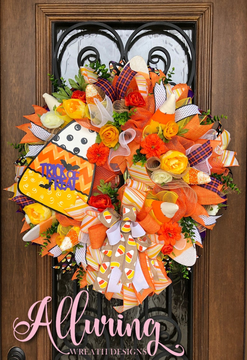 Candy Corn Deco Mesh Wreath for Fall image 0
