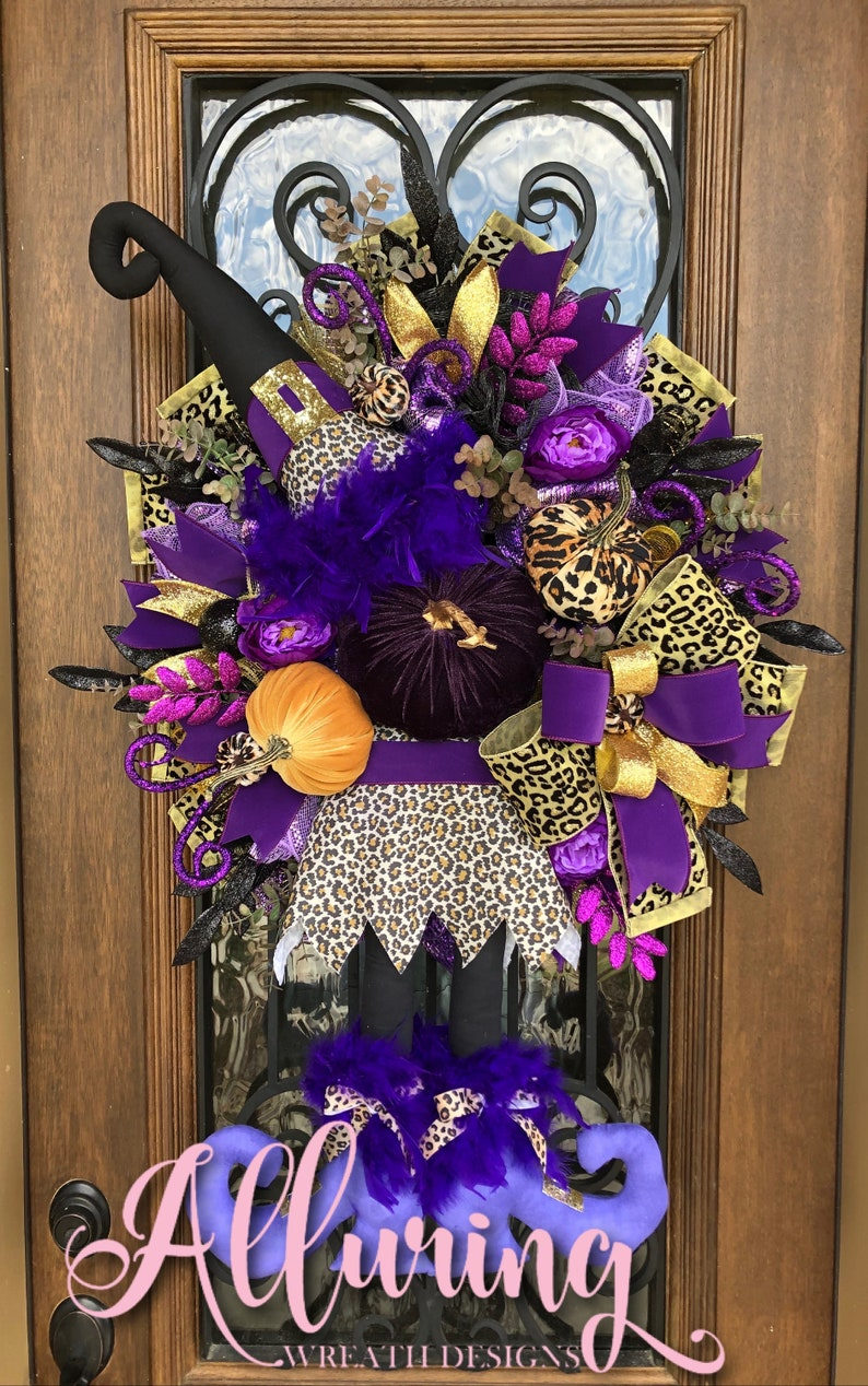 Halloween Wreath with Cheetah Print Witch and Velvet Pumpkins image 0
