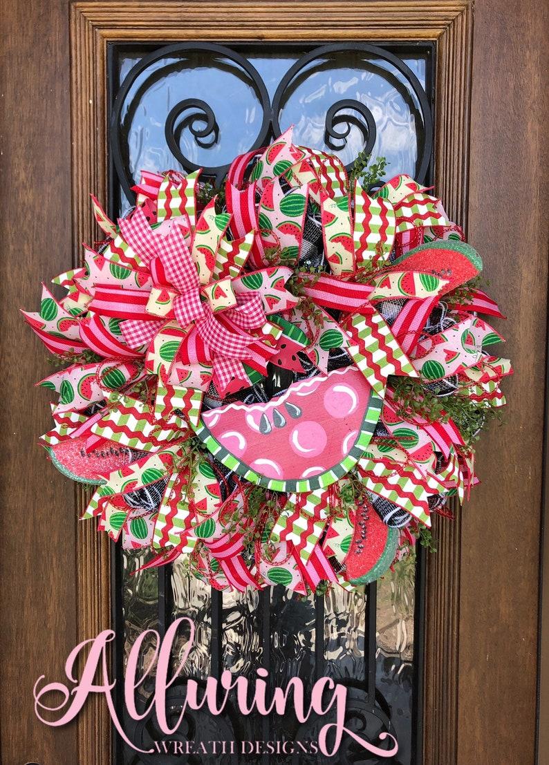 Summer Watermelon Wreath for front door image 0