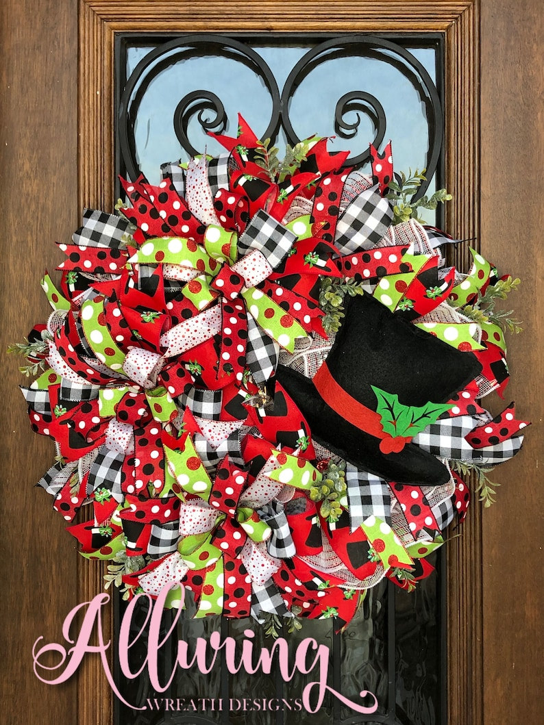 Christmas Snowman Wreath with Top Hat image 0
