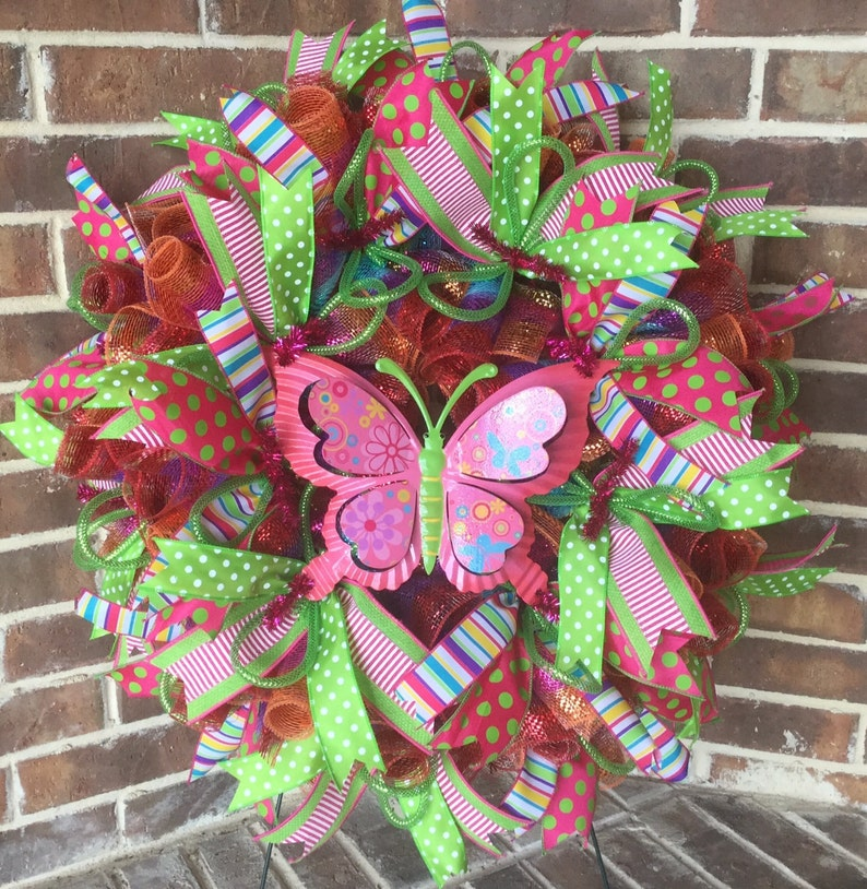 Pink Butterfly Wreath for Spring Front Door image 0