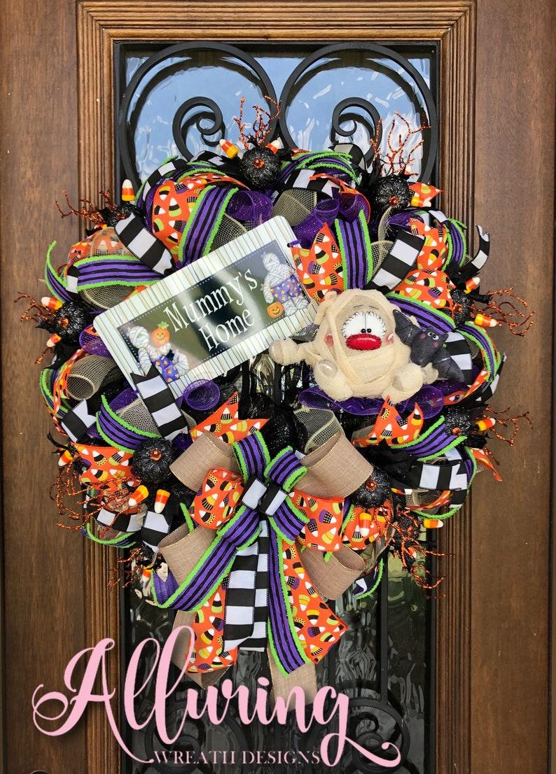 Halloween Wreath with Primitive Plush Mummy image 0