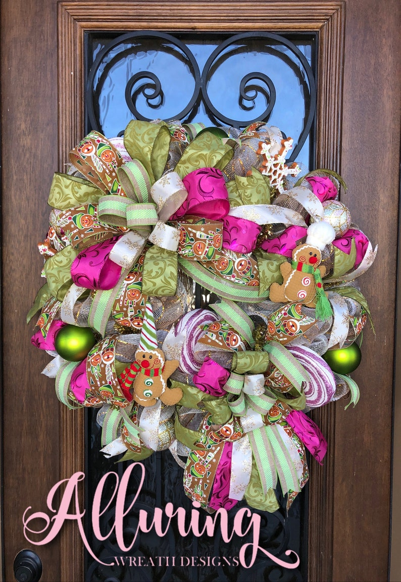 Gingerbread Man Wreath with Christmas Candy image 0