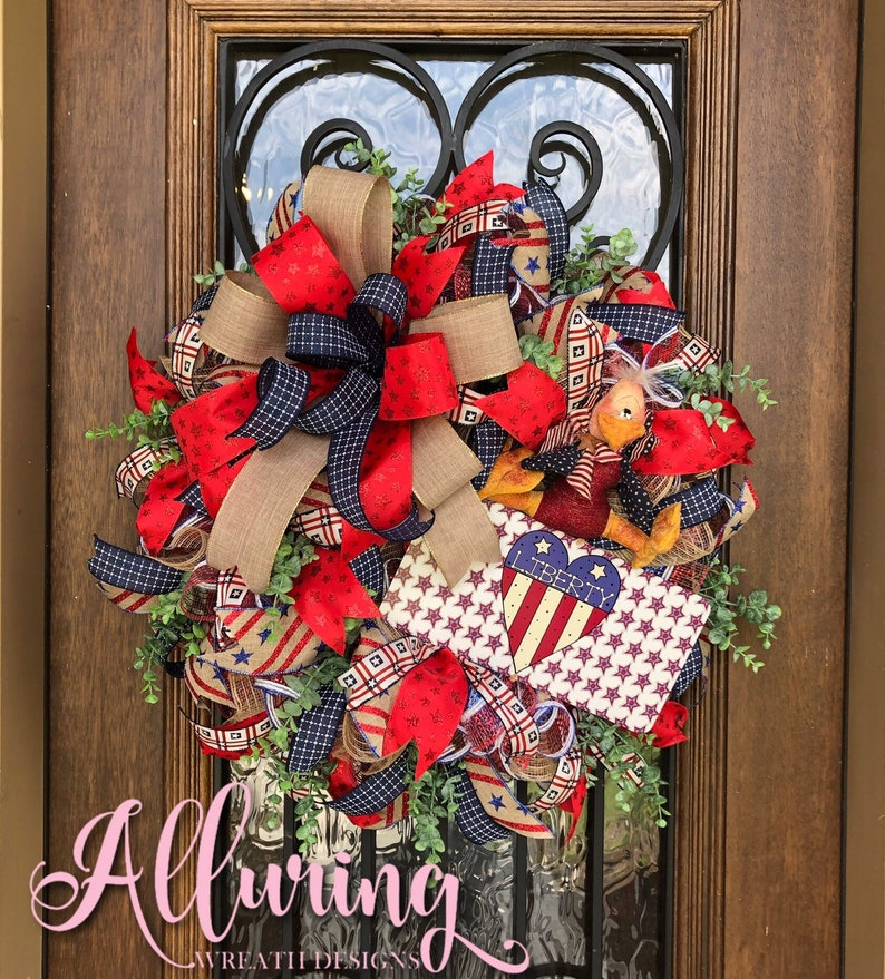 American Patriotic Wreath for July 4th Decorating image 0