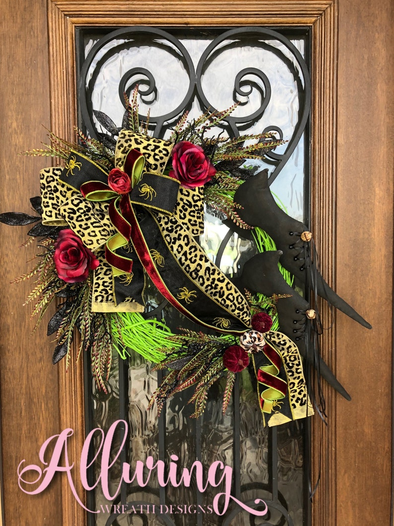 Halloween Grapevine Wreath with Vintage Witches Shoes image 0