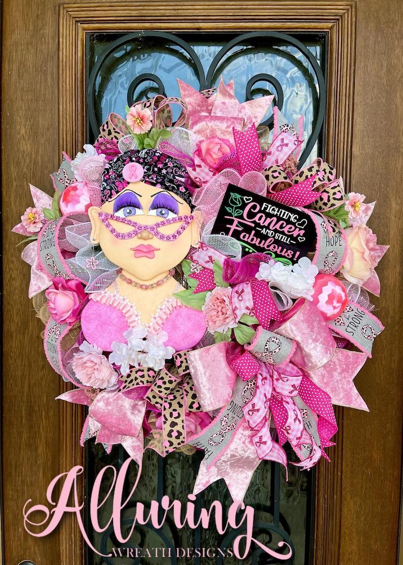 Breast Cancer Awareness Front Door Wreath image 0