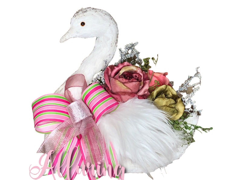Swan Centerpiece with Vintage Roses image 0