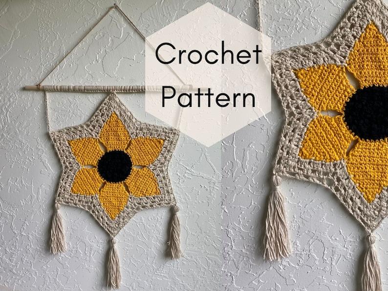 CROCHET PATTERN // Savannah Sunflower Wall Hanging image 0