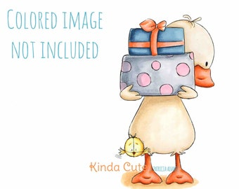 Birthday Digital Stamps - Duck with Presents Digital Stamp - Digital Stamp Duck - Duck holding Presents - Baby Shower Stamps - Black & White