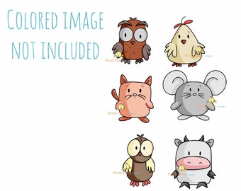 Animal Digital Stamp Set - Cute shaped animals - Cat - Owl - Cow - Mouse - Hen - Farm Digital stamps - Farm animals - Black & White only
