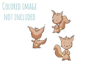 Squirrel Digital Stamp Set - Squirrel Stamps - Woodland Critters - Animal Digital Stamps for Card Making - Black & White - Ardillas