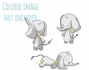 Baby Elephant Digital Stamp Set - Elephant stamps - Animal Digital stamps for card making - Sello digital - Black & White