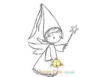 Fairy with wand digital stamp (black/white only). Christmas digital stamp. Tooth fairy. Sello digital para navidad.