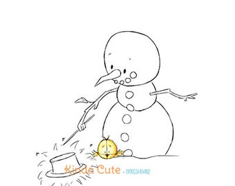 Snowman doing magic Digital Stamp  (black/white only). Christmas digital stamp. Sello digital para navidad. Muñeco de nieve.