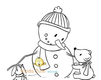 Christmas Digital Stamp Snowman and Friends (black/white). Christmas digital stamp.