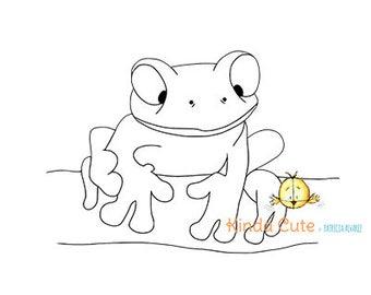 Frog digital stamp (black/white only). Frog line art for printing. Amphibian digital stamp. Coloring page for kids. Sello digital. Rana.