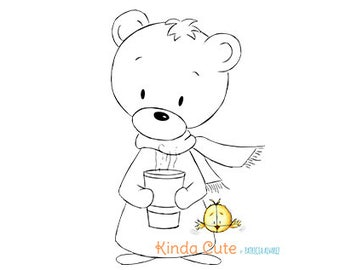 Christmas Digital Stamp. Bear with Cup (black/white only). Christmas digital stamp.