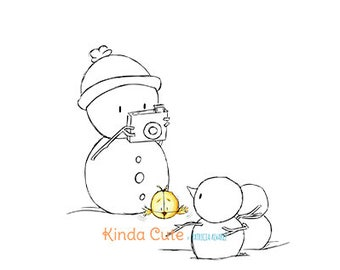 Christmas Digital Stamp. Snowman taking photos (black/white only).