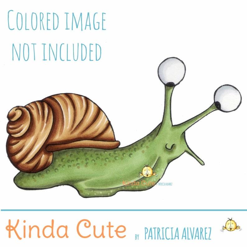 Snail Digital Stamp black/white only. Snail digi stamps. image 0