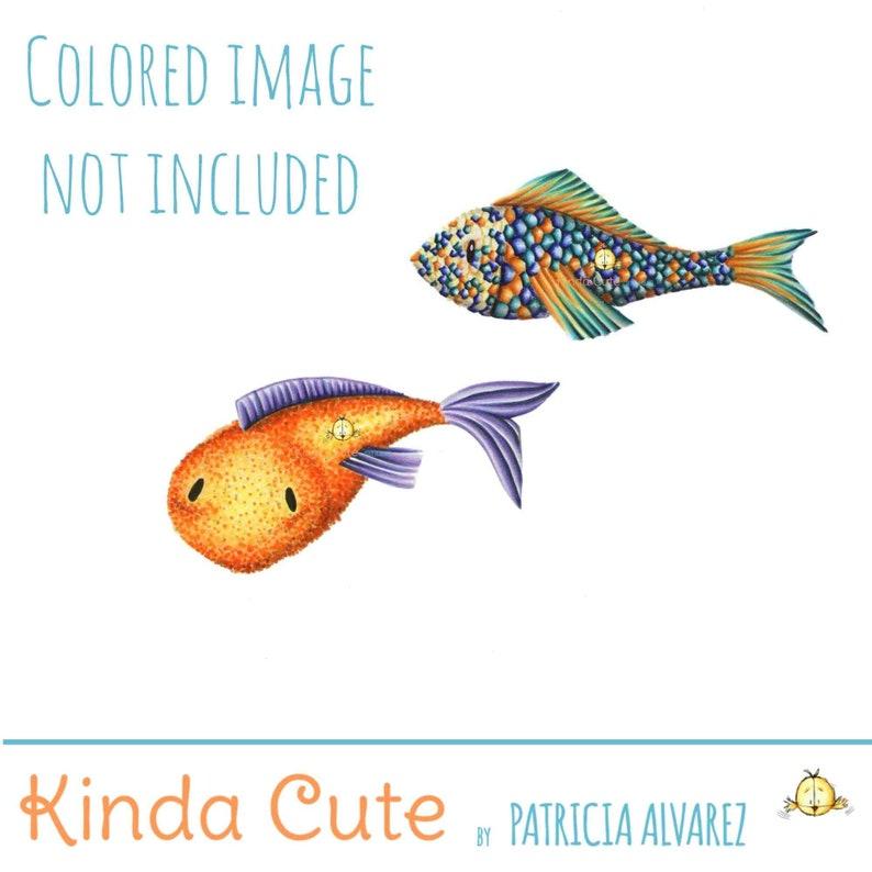 Fish Digital Stamp Set  Carp Digital Stamp  Koi Digital image 0