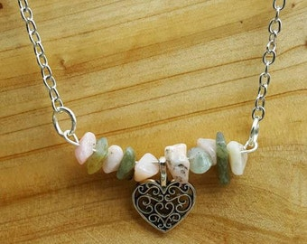 Sale~ Pink Opal and Labradorite silver heart Psychic Love necklace