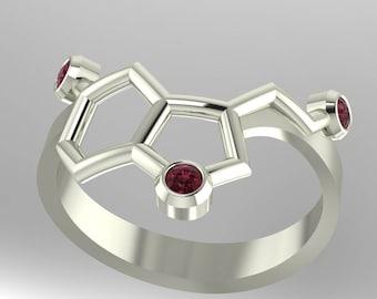 "Molecule Serotonin ""happiness"" platinum ring set with genuine diamond-cut birthstones - Molecular Bliss"