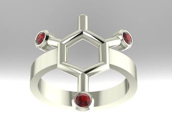 TNT or Trinitrotoluene molecule (often confused for dynamite) solid platinum ring set with genuine diamond-cut birthstones - Molecular Bliss