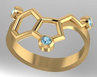 "Serotonin molecular solid gold ""happiness"" ring set with genuine birthstones - Molecular Bliss"
