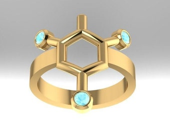 TNT or Trinitrotoluene molecule solid gold (often confused for dynamite) ring set with genuine birthstones - Molecular Bliss