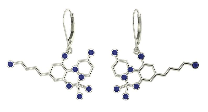 Molecule sterling silver leverback earrings set with birthstones Molecular Bliss