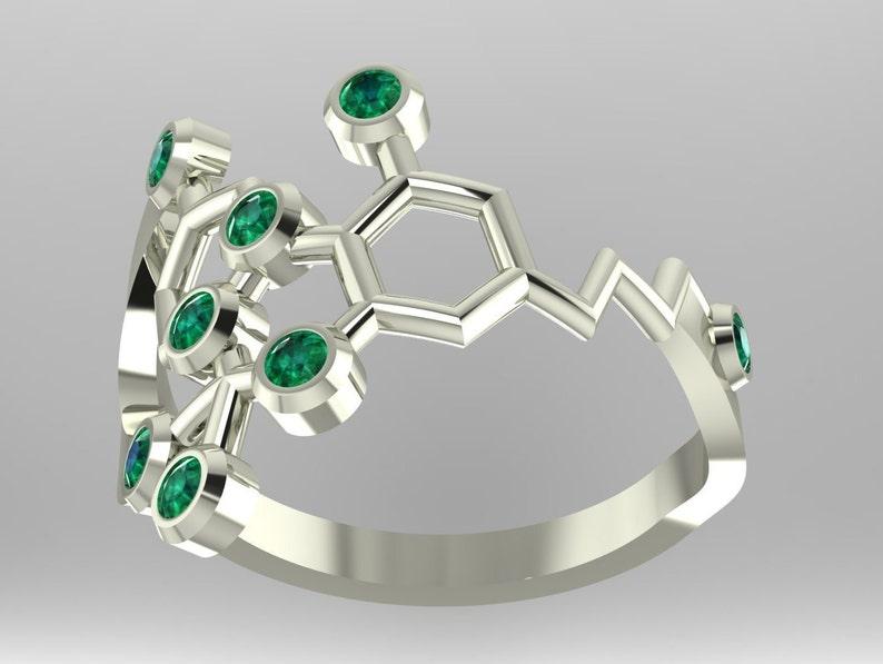 Molecular Bliss Tetrahydrocannabinol or THC molecular .925 sterling silver medical marijuana ring set with imitation birthstones