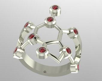 "Caffeine molecule ""coffee"", ""tea"", ""chocolate"" platinum ring set with genuine diamond-cut birthstones - Molecular Bliss"