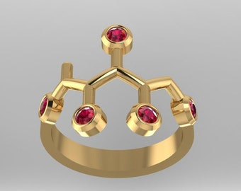 """Fucitol molecule solid gold """"F*ck-It-All"""" ring set with genuine birthstones - Molecular Bliss"""