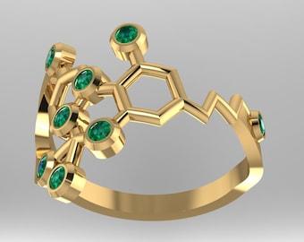 "Tetrahydrocannabinol or THC molecular solid gold ""medical marijuana"" ring set with genuine birthstones - Molecular Bliss"