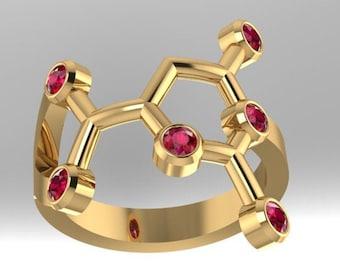 "Orotic Acid molecule solid gold ""Erotic Acid"" or ""vitamin B-13"" ring set with genuine birthstones - Molecular Bliss"
