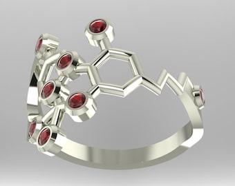 THC or Tetrahydrocannabinol molecule (medical marijuana) platinum ring set with genuine diamond-cut birthstones - Molecular Bliss