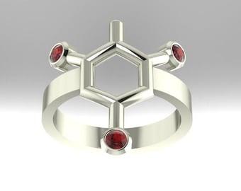 TNT or Trinitrotoluene molecule (often confused for dynamite) .925 sterling silver ring set with imitation birthstones - Molecular Bliss
