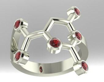 "Orotic Acid molecular .925 sterling silver ""Erotic Acid"" or ""vitamin B-13"" ring set with imitation birthstones - Molecular Bliss"