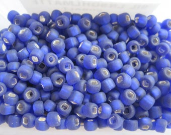 Silver Lined Matte Cobalt Seed Beads, Dyna-Mites Matsuno Japan, 10 grams Round Size 6