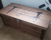 Rustic wooden chest toy box blanket box trunk ottoman storage.