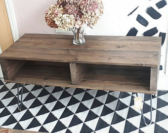Rustic Retro pallet coffee table/tv stand in Jacobean dark oak with bare steel hairpin legs modern living room
