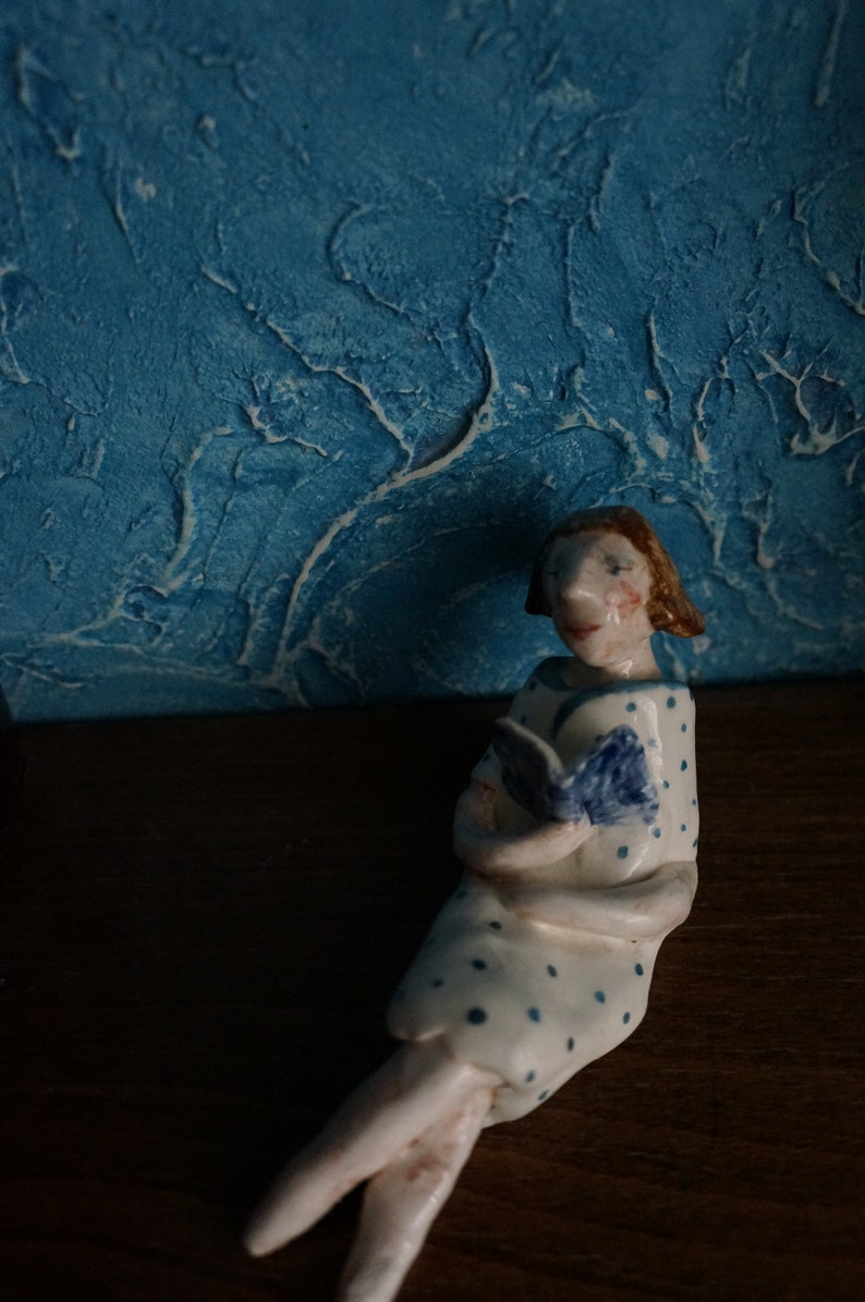 Small ceramic sculpture 13cm length Vintage style Sweet  lady reading a book in the summer