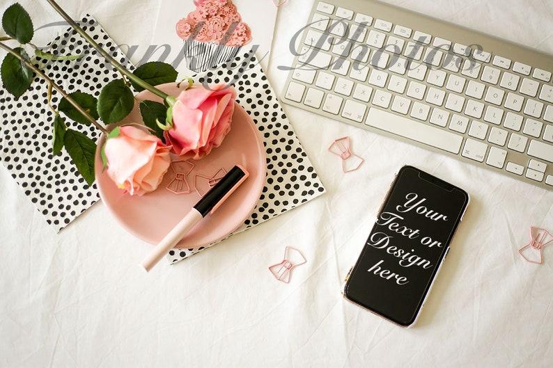Pink & Black Styled Stock Photo / iphone Mockup / Styled Stock image 0