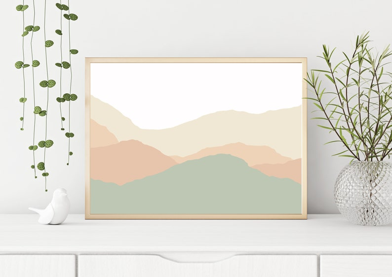 Abstract Landscape Neutral Wall Art Pastel Wall Art Neutral Colors Abstract Mountain Wall Art Pastel Abstract Art Mountain Art Large Print