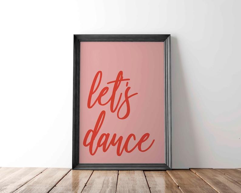 Lets Dance Music Print Music Lyric Print Gallery Wall Art image 0