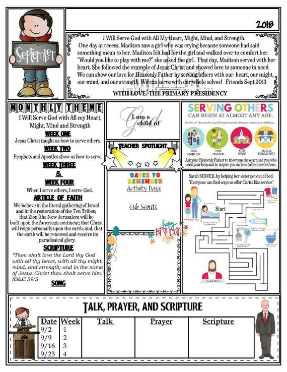 lds primary september newsletter template etsy