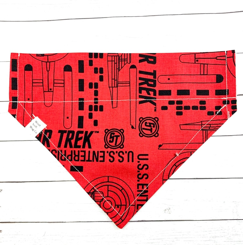 Star Trek inspired Movie Collection pet Accessory \u2022 Through the collar or Tie on pet bandana \u2022 for teacup and XL dogs \u2022 Snaps